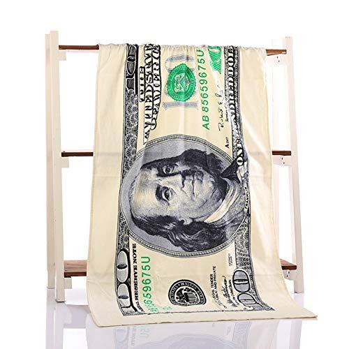 Yalatan Hundert Dollar USA Bill dekoratives Badetuch, Badetuch zum Sonnenbaden am Strand, 70 x 140cm / 27.5X 55inch (55 Dollar)