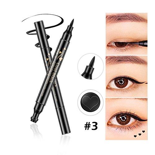Black Shimmer Eyeliner (Allbesta Double-ended Eyeliner Stamp Eye Liner Flüssig Pencil Schwarz Langlebig Makeup Super Slim Star Moon Heart)