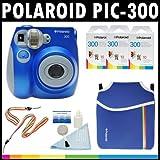 Polaroid PIC-300 Sofortbild-Analog-Kamera (blau) mit (3) Polaroid-300-Sofortbildfilm-Packungen à 10 + Polaroid-Neoprentasche + Polaroid-Reinigungsset + -Hals- & Handschlaufe
