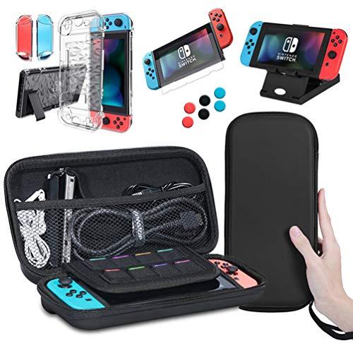 Lachesis Nintendo Switch Tasche, 5 in 1 Zubehör für Nintendo Switch Tragetasche + Nintendo Switch Hülle Transparent + Nintendo Switch Schutzfolie + Nintendo Switch Ständer + 6 Daumen Kappen