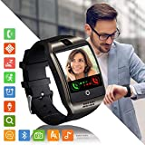 Montre Connectée Femmes Homme Enfant Bracelet Connecté Smartwatch Soutien Carte SIM Synchronisation Appels SMS Notifications Smart Watch Compatible avec Android Samsung Xiaomi Huawei iPhone (Noir)
