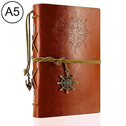 Foonii Vintage Retro Leather Cover Notebook Klassische Travel Journal Tagebuch Leeren Kraft Notebook Korsar(Braun)