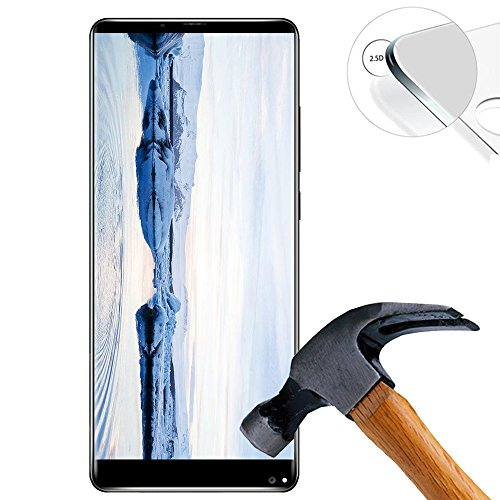 Lusee 2 X Pack Hart Panzerglasfolie Schutzfolie für Oukitel Mix 2 5.99 Zoll Tempered Glass Folie Screen Protector Panzerfolie Glasfolie(Nur den flachen Teil abdecken)
