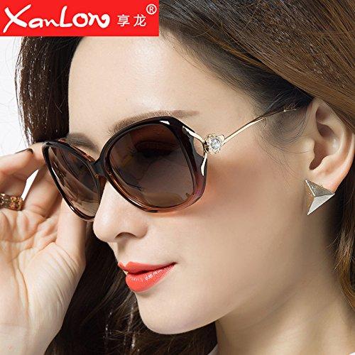 Komny Sonnenbrille weibliche Mode bias weiblichen Tide rundes Gesicht Sonnenbrille star Gläser Tee Farbe und schrittweise Tee Objektiv