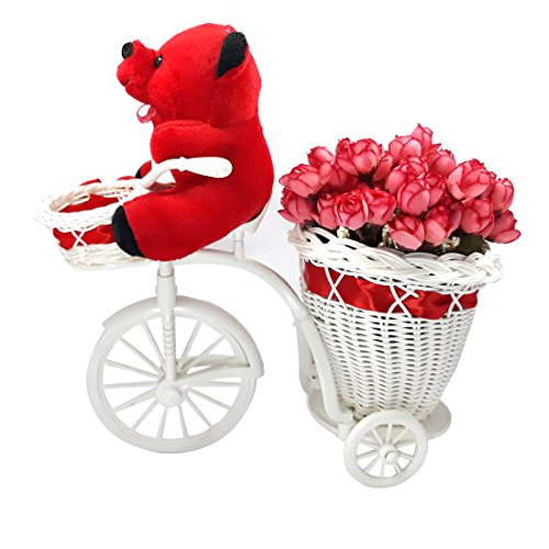 VESPL Red Teddy Bear On Tricycle With Flower Basket Set- 0019  available at amazon for Rs.849