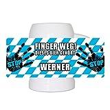 Lustiger Bierkrug mit Namen Werner und schönem Motiv Finger weg! Dieses Bier gehört Werner | Bier-Humpen | Bier-Seidel