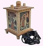 #6: Crafticia Square Gem Stone Night Lamp Antique Craft Rajasthani Pink City Jaipur Unique Wooden Traditional Handmade Handicraft Decorative Gift Item