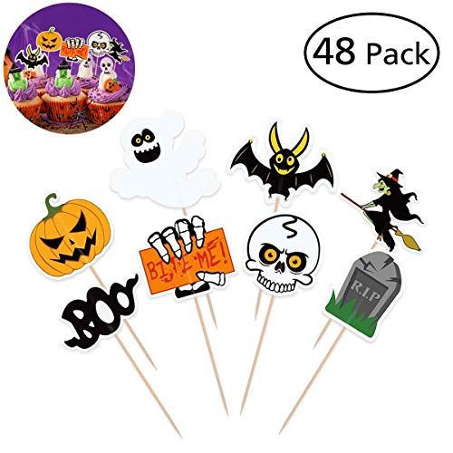 BESTONZON 48 PCS Halloween Cupcake Toppers, Double Sided Cake Toppers with Different Styles for Halloween Party Cupcake Food Decorations