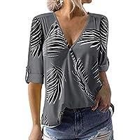 Camisas para Mujeres,Hojas Estampado Floral Gris V-Cuello Blusas para Mujeres Manga Suelta Superior Elegante Casual Wrap Sash Manga Corta Camisas para