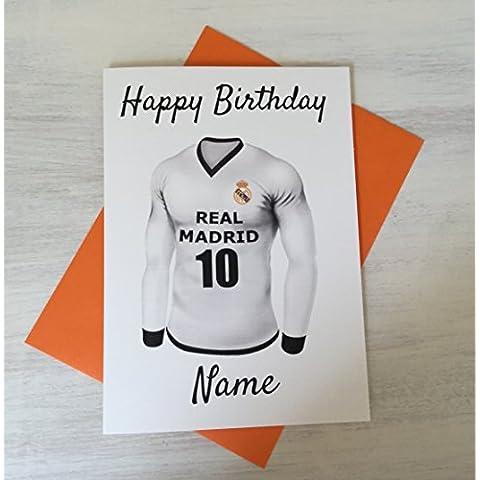 Personalised Pallone da calcio Real Madrid–Biglietto di auguri per compleanno qualsiasi nome e numerati Shirt - Custodia Regalo Personalizzato Scheda