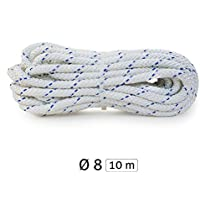 Yachtglanz R.G. - Cabo de amarre l cuerda: ø8 mm - 320 kg Carga de rotura | poliéster | en blanco con marcador azul (10 m)