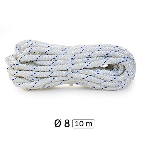 Yachtglanz R.G. - Festmacherleine | Ankerleine | ø8 mm - 320 kg Bruchlast | aus Polyester | in Weiß mit blauem Kennfaden | Seil | Tau (10 m)