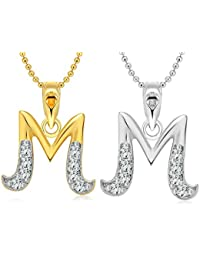 "Vighnaharta ""M"" Letter Selfie CZ Gold And Rhodium Plated Alloy Pendant With Chain For Girls And Women."