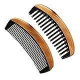 Peigne en bois Neem à denture large et peigne en bois à dent fine, peigne en corne démêlant antistatique au bois de santal vert pour femmes, hommes et filles, peigne à cheveux pour cheveux épais