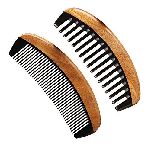 LWBTOSEE Handgefertigter Kamm aus Neemholz mit breiten Zähnen, grünes Sandelholz, antistatisches Entwirren, Hornkamm für Damen, Herren und Mädchen, Haarkamm für dickes, lockiges und gewelltes Haar