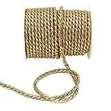 Cordón dorado, 2mm/4mm/6mm, lúrex, sin alambre, dorado, Ø 6mm/ 25 Meter