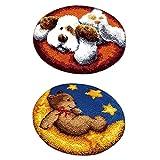 Baoblaze 2 Sätze Knüpfteppich Formteppich Hund und Bär für Kinder und Erwachsene zum Selber Knüpfen Teppich, Latch Hook Kit, 50x50cm