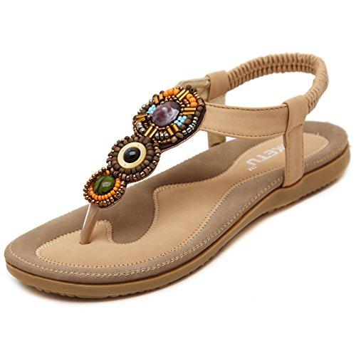 Damen Sandalen Zehentrenner Bohemian Strass Flach Sandaletten Sommer Strand Schuhe (37 EU, Beige)