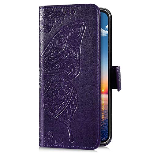 Uposao Kompatibel mit Samsung Galaxy M20 Handyhülle Schutzhülle Retro Schmetterling Blumen Muster Leder Hülle Brieftasche Klapphülle Wallet Flip Case Tasche Magnet Kartenfächer,Violett