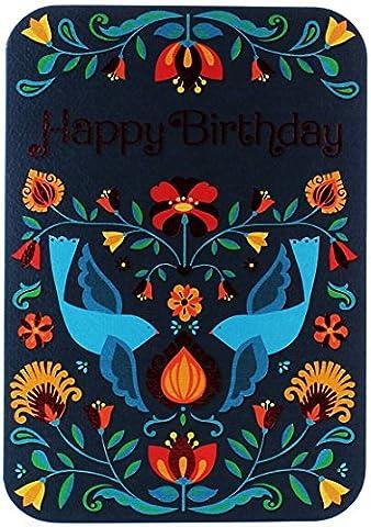 Gold Open Female Birthday Card - Blue Birds & Bright