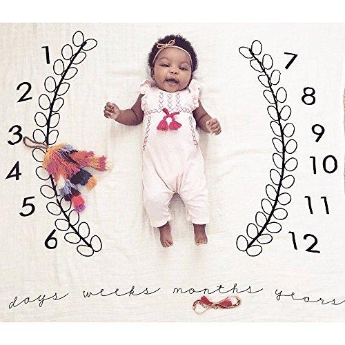 Growth Record Tasche Handtuch Kamera Decke Baby Fotografie Hintergrund Tuch kingko Swaddle Decke Sleeping Swaddle Organic Muslin Cotton Wrap (B)