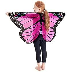 Disfraz Para Mujer/Niños, ❤️Xinantime Accesorio de disfraz de Pashmina para niños Chal estampado de mariposas Bohemia para niñas (❤️Rosa caliente)