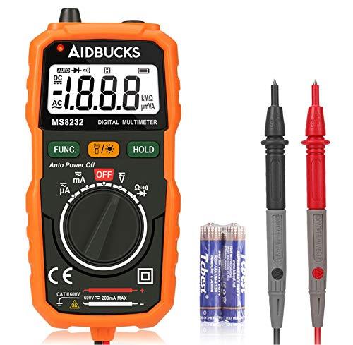 Multimetro Digitale AIDBUCKS MS8232 Professionale Multimetri Tester Elettronico Batteria Analogico Auto Voltmetro Amperometro AC DC Corrente Voltaggio Resistenza Tensione Diodo Continuita con Retroilluminazione LCD