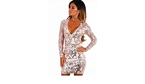 6d6461aa0ba Pink Boutique Champagne On Ice Rose Gold Sequin Long Sleeve Mini Dress:  Amazon.co.uk: Clothing