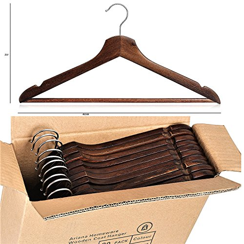 Pack de 20Percha de madera envejecido negro multifuncional Perchas (de madera maciza, de alta calidad acabado Natural perchero con barra redonda