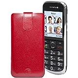 Favory® Etui Tasche für / OLYMPIA JOY / Leder Etui Handytasche Ledertasche Schutzhülle Case Hülle Lasche mit Rückzugfunktion* in Rot