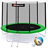 Hop-Sport Gartentrampolin 244, 305, 366, 430, 490 cm Komplettset inkl. Außennetz Leiter Wetterplane Erdanker Grün (305 cm)