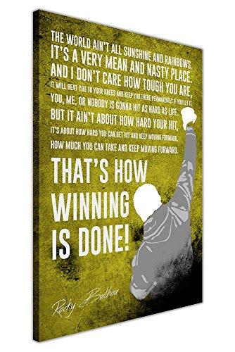 CANVAS IT UP Gelb berühmten Rocky Balboa Film Zitat gerahmtes Leinwandbild, Kunstdruck Boxen Sport Bilder Größe: 76,2x 50,8cm (76x 50cm)