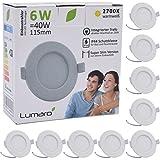 Lumaro Slim Line Einbauspot IP44 für Bad und Feuchträume in weiß mit nur 26mm Einbautiefe! Deckenspot mit integriertem 6W 450lm LED Leuchtmittel warmweiß (9 Stk.)