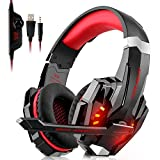 Willnorn Gaming Headset für PS4 Xbox One PC, 3.5mm Kabelgebundenes Kopfhörer Headset mit Mikrofon, LED-Licht Bass Surround, Aluminiumgehäuse für Laptop, Smartphone, Nintendo Switch Spiele (Red)