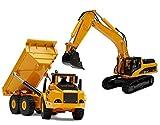 TopRace 2 in 1 Diecast Metall Modell Bagger und Kipper Freewheeler Construction Spielzeug - TR-111D / TR-112D