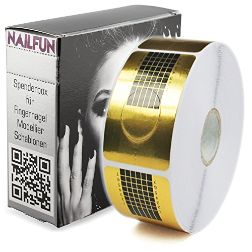 1 Rolle (500 Stück) selbstklebende SQUARE-GOLD Modellier-Schablonen Goldschablonen für die künstliche Fingernagel-Modellage von NAILFUN