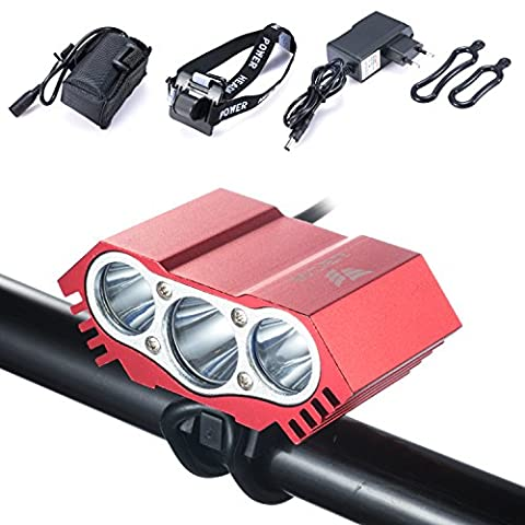 Modes imperméables à l'eau de commutateur de la lampe +Battery Pack+Charger 4 de lumière de vélo de lumière de bicyclette du lumen XML U2 LED de la lumière 5000 de vélo du hibou LED (3LED Rouge)