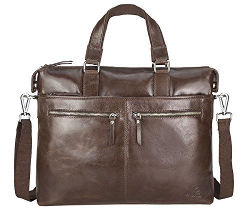 Bannisters Manhattan Mens Borsa / Messenger Bag Fino A 13 Pollici In Vera Pelle Vintage Marrone