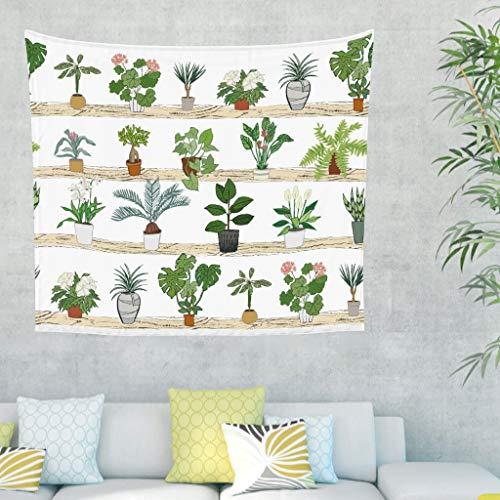 Tropisch Pflanzen Blumen Wandteppich Wandbehang Modern Hippie Tuch Wandtuch Tapestry Tapisserie Wanddeko für Schlafzimmer Strandtuch Tischdecke Weiß 100x150cm (Wandbehang Wandteppich Modern)