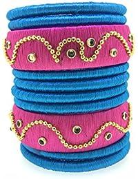 SURATNA Designer Handmade Traditional Wear Multi Pink & Blue Color Silk Thread Bangle 10 Pc Set For Girls & Women