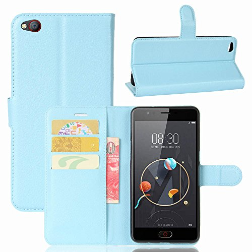 ZTE/Nubia N2 Handyhülle Book Case ZTE/Nubia N2 Hülle Klapphülle Tasche im Retro Wallet Design mit Praktischer Aufstellfunktion - Etui Blau
