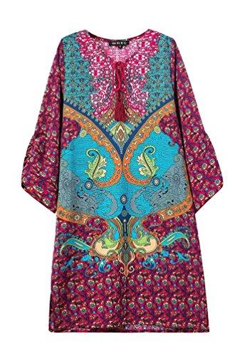 NiSeng Donne Vintage Paisley Stampa Bohemian Estate Manica a 3/4 Vestito a trapezio Floreale