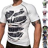 Khroom Hochwertiges Herren Funktionsshirt | Perfekt für Fitness & Gym - Kompressionsshirt im stylischen Helden Design (Black Spiderman weiß, M)