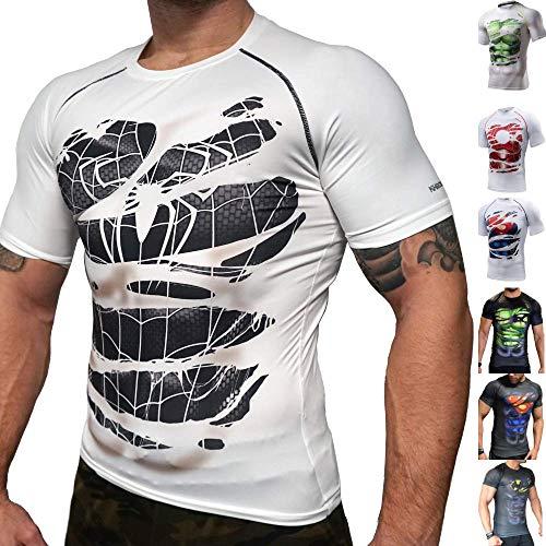 Khroom Hochwertiges Herren Funktionsshirt | Perfekt für Fitness & Gym - Kompressionsshirt im stylischen Helden Design (Black Spiderman weiß, XL)