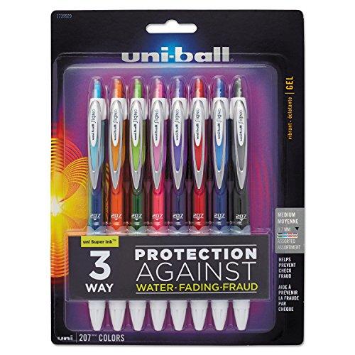 Wholesale case of 10-Sanford Uni-ball Signo gel 207Retractable pens-gel Pen, Retractable, .7mm Point, 8/PK, AST.