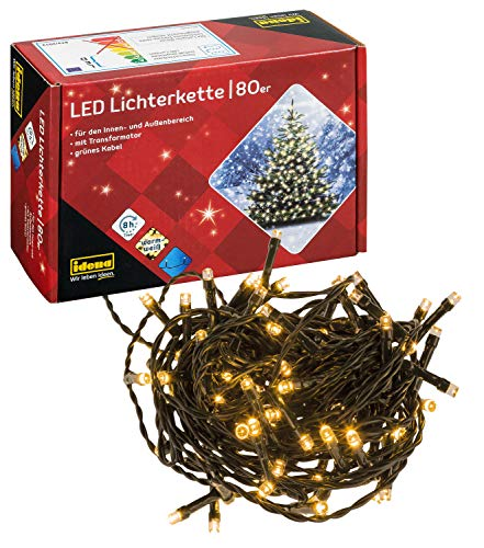 Idena 8325058 - LED Lichterkette mit 80 LED in warm weiß, mit 8...