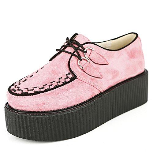 RoseG Damen Schnürschuhe Flache Plateauschuhe Gote Punk Creepers Schuhe - 7