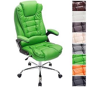 51Wh0Ih68VL. SS300  - CLP-Silla-de-escritorio-THOR-silla-de-oficina-con-altura-del-asiento-regulable-respaldo-reclinable-tapizada-en-piel-sinttica-y-soporta-un-peso-mximo-de-150-kg-acolchado-grueso-para-mayor-comodidad-ver