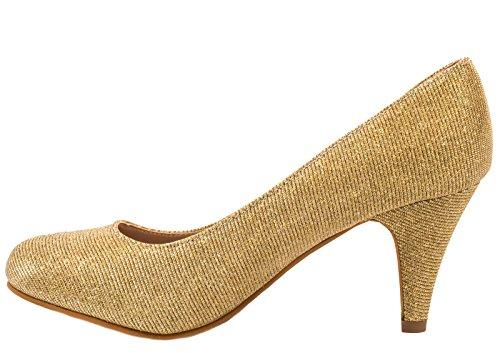 Elara Damen Pumps   Bequeme High Heels Glitzer   Hochzeit Stiletto Gold Äree