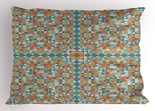 Ejjheadband Country Pillow Sham, Quilt Patchwork Texture with Gingham Waves Squares Triangles Retro Rural Pattern, Decorative Standard Queen Size Printed Pillowcase, 30 X 20 inches, Multicolor (Quilts Queen-size-country)